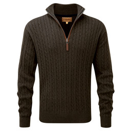 Cotton Cashmere Cable 1/4 Zip Jumper Loden Green