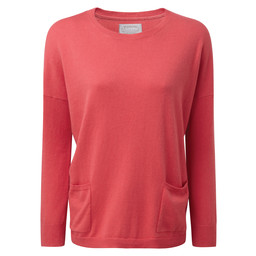 Schoffel Country Cotton Cashmere Crew With Pockets in Coral