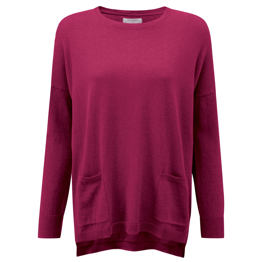 Cotton Cashmere Crew With Pockets Raspberry