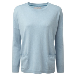 Schoffel Country Cotton Cashmere Crew With Pockets in Sky Blue