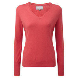 Schoffel Country Cotton Cashmere V Neck in Coral
