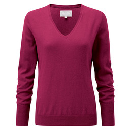 Schoffel Country Cotton Cashmere V Neck in Raspberry