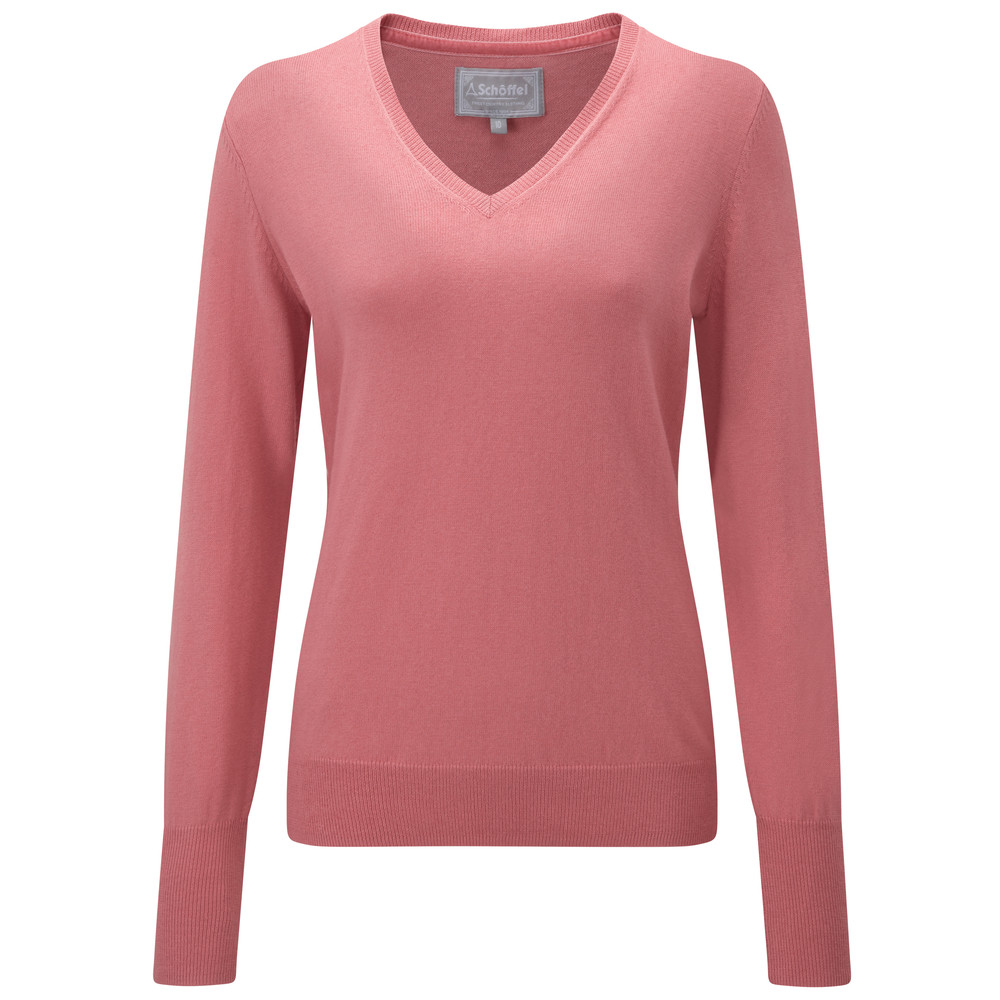 Cotton Cashmere V Neck Rose