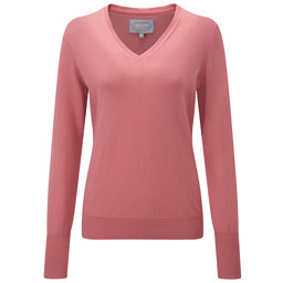 Schoffel Country Cotton Cashmere V Neck in Rose
