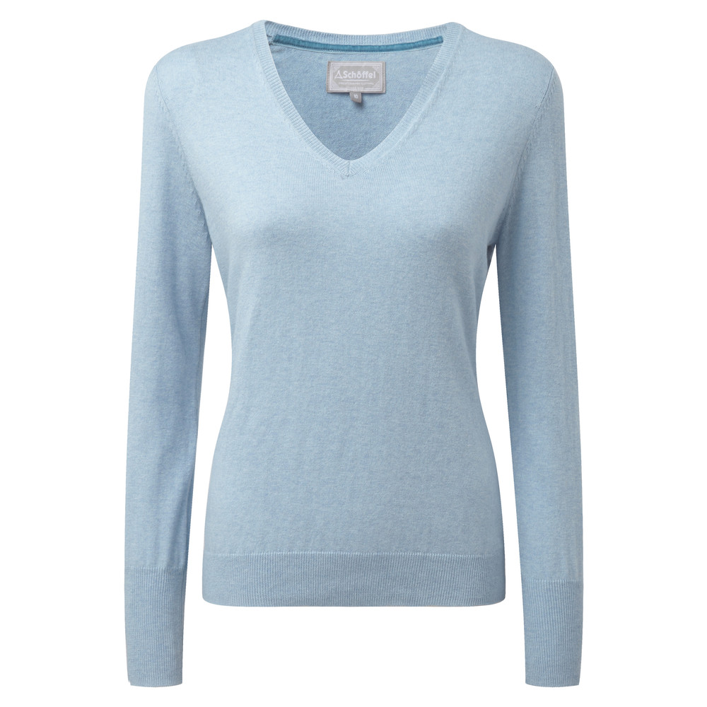 Cotton Cashmere V Neck Sky Blue