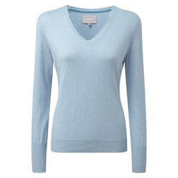 Schoffel Country Cotton Cashmere V Neck in Sky Blue