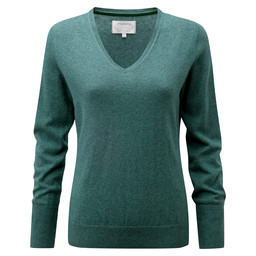 Schoffel Country Cotton Cashmere V Neck in Kingfisher