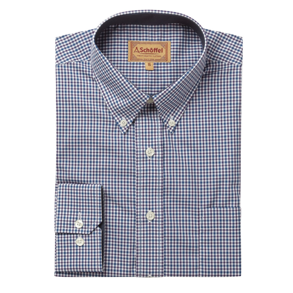 Holkham Shirt Plum Check