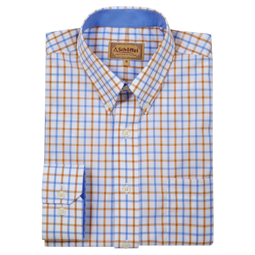 Holkham Classic Shirt Ochre Check
