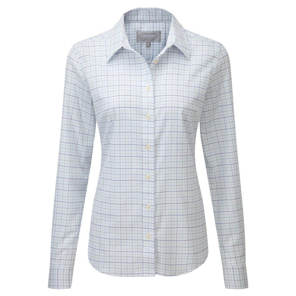 Ladies Tattersall Shirt Blue Tattersall
