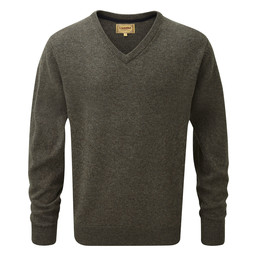 Schoffel Country Lambswool V Neck Jumper in Mole