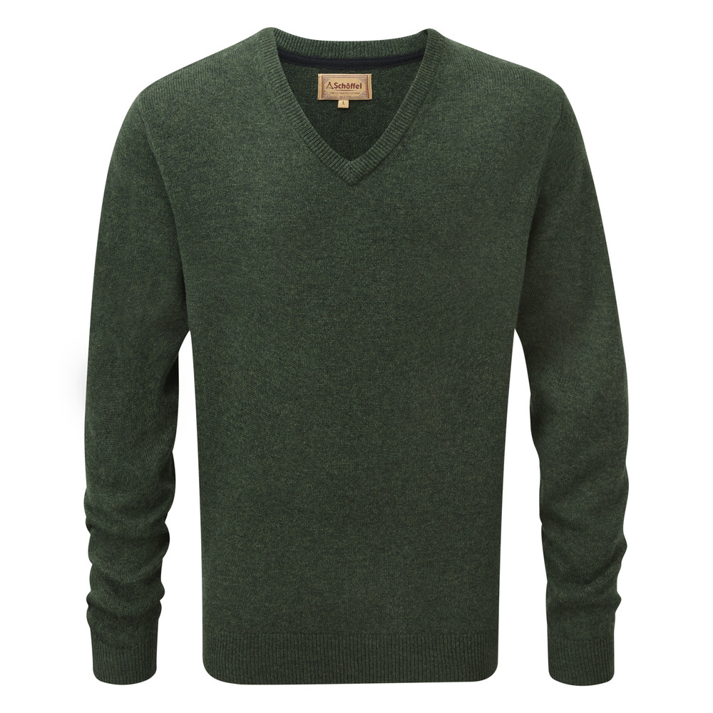 Lambswool V Neck Jumper Forest