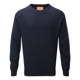 Schoffel Country Cotton Cashmere Crew Jumper in Navy Blue