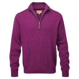 Schoffel Country Cotton Cashmere 1/4 Zip Jumper in Plum
