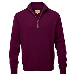 Schoffel Country Cotton Cashmere 1/4 Zip Jumper in Fig