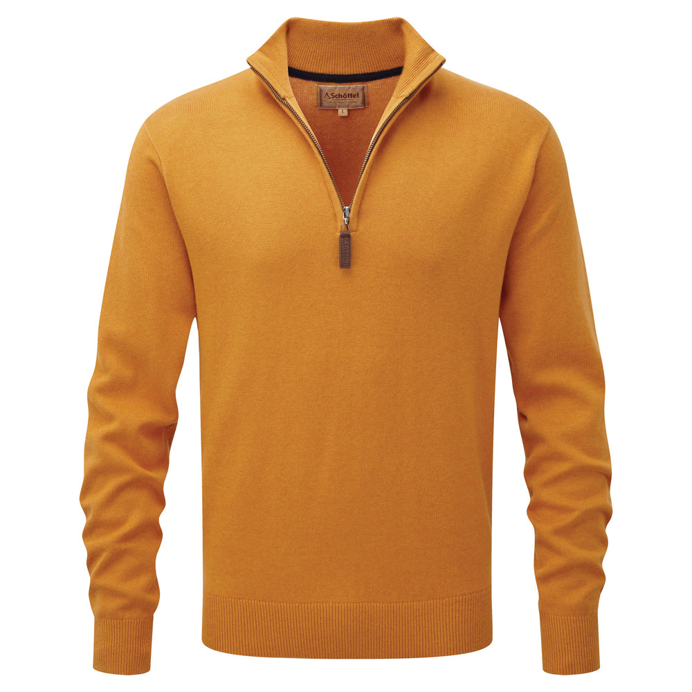 Cotton Cashmere 1/4 Zip Jumper Ochre