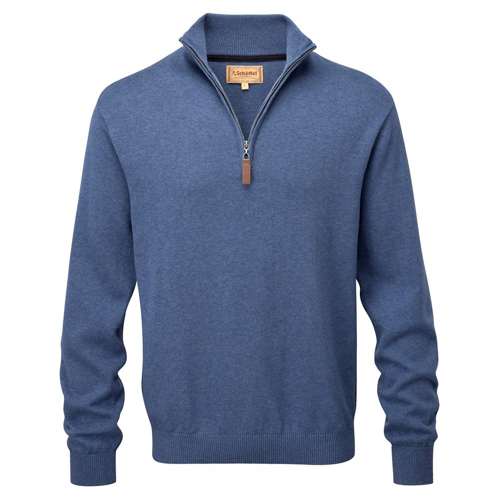 Cotton Cashmere 1/4 Zip Jumper Stone Blue