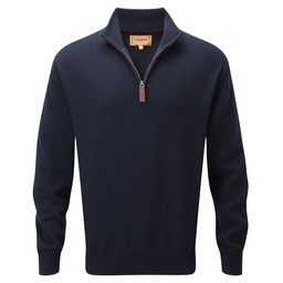 Schoffel Country Cotton Cashmere 1/4 Zip Jumper in Navy Blue