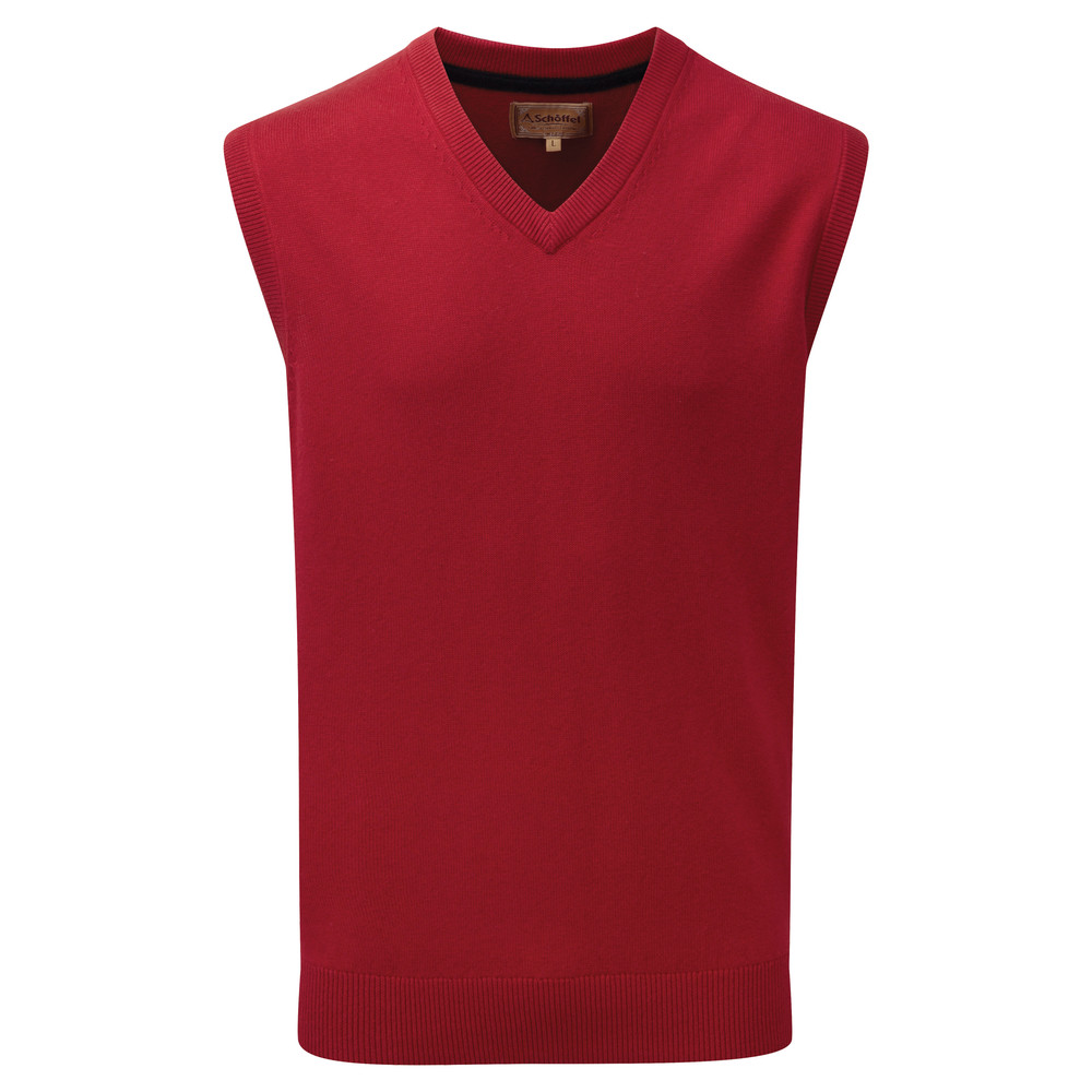 Cotton Cashmere Sleeveless V Neck Jumper Rich Red