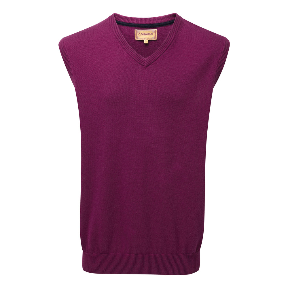 Cotton Cashmere Sleeveless V Neck Jumper Plum