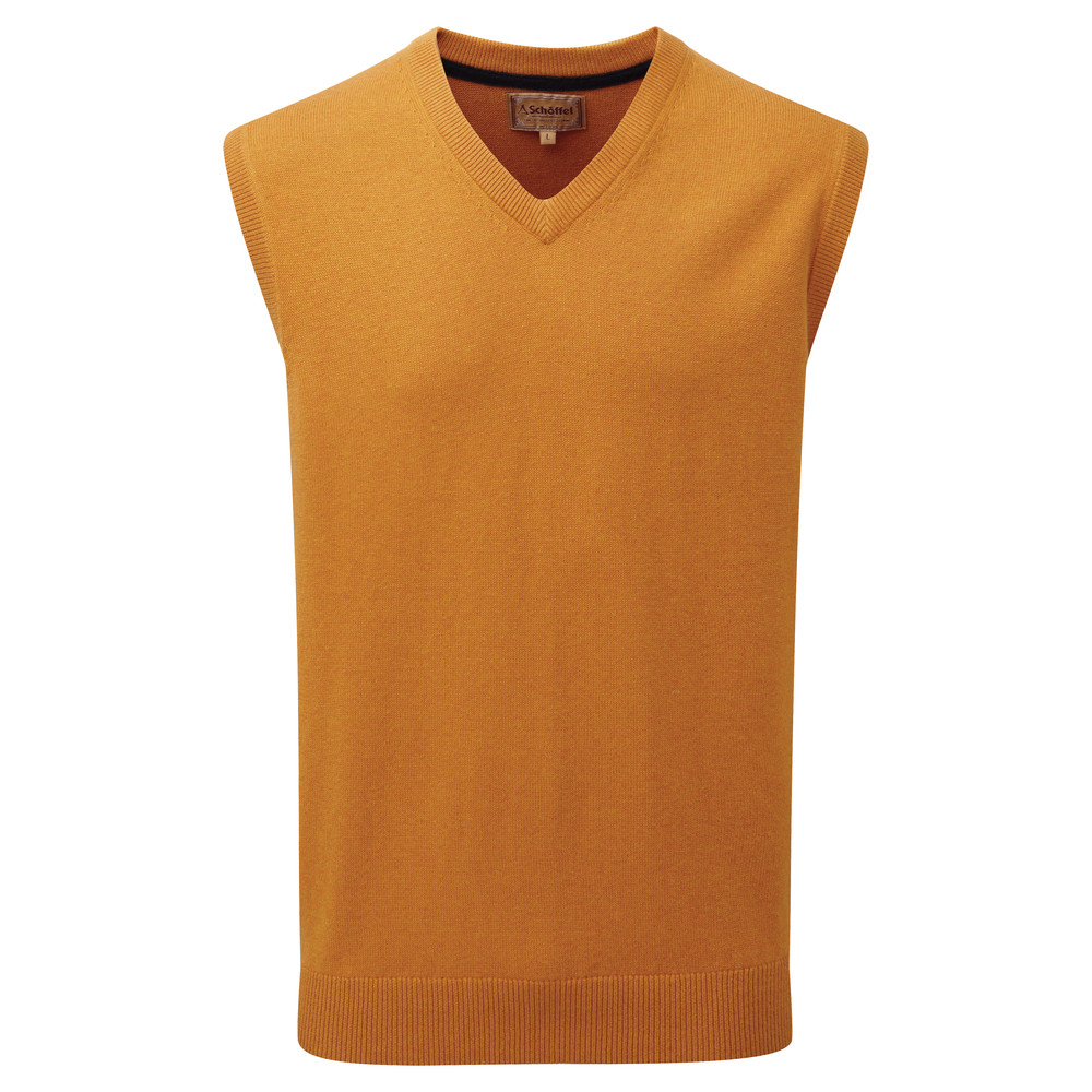 Cotton Cashmere Sleeveless V Neck Jumper Ochre
