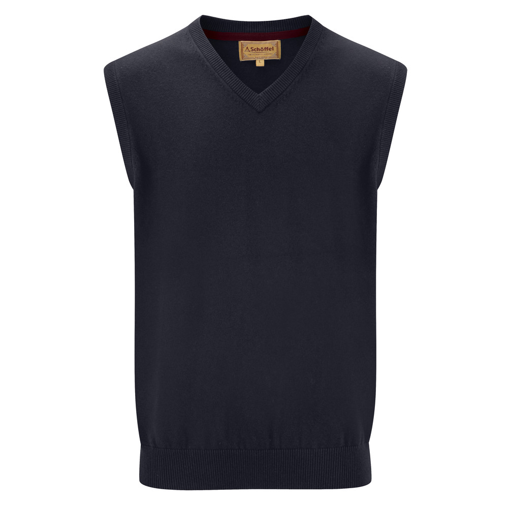 Cotton Cashmere Sleeveless V Neck Jumper Navy Blue