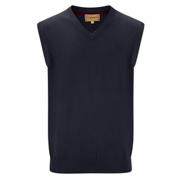 Schoffel Country Cotton Cashmere Sleeveless V Neck Jumper in Navy Blue