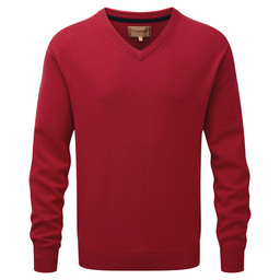 Schoffel Country Cotton Cashmere V Neck Jumper in Rich Red