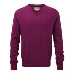 Schoffel Country Cotton Cashmere V Neck Jumper in Plum
