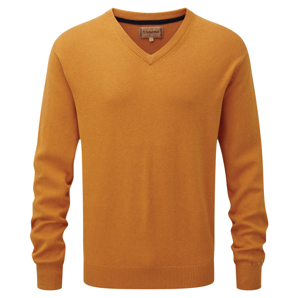 Cotton Cashmere V Neck Jumper Ochre