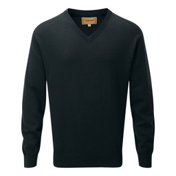 Schoffel Country Cotton Cashmere V Neck Jumper in Forest