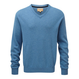 Schoffel Country Cotton Cashmere V Neck Jumper in Denim