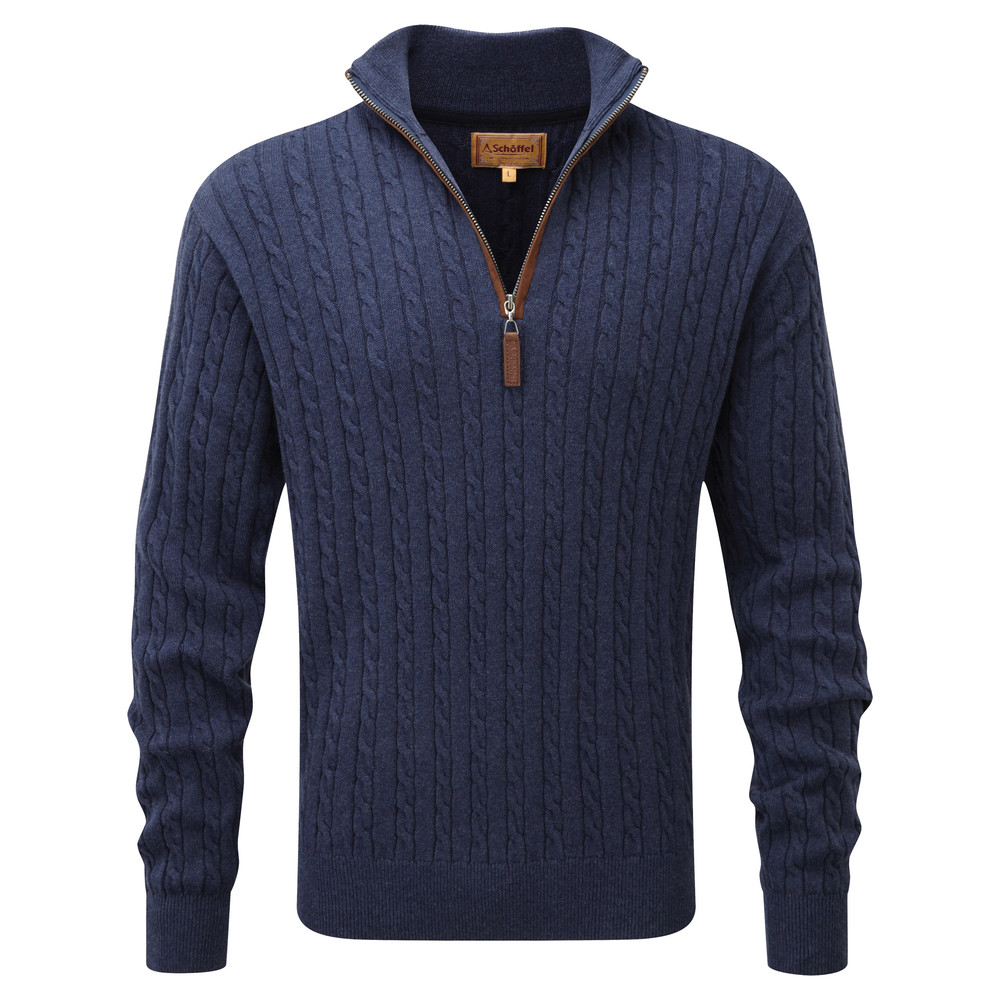 Cotton Cashmere Cable 1/4 Zip Jumper Indigo