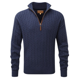 Schoffel Country Cotton Cashmere Cable 1/4 Zip Jumper in Indigo