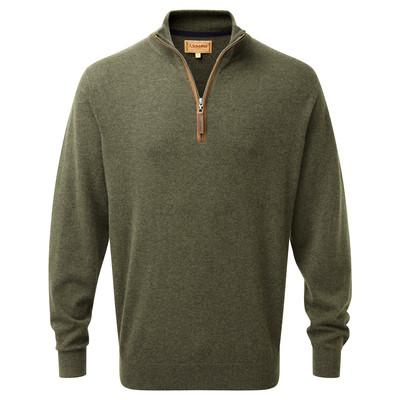 Merino/Cashmere 1/4 Zip Jumper Loden Green