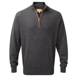 Schoffel Country Merino/Cashmere 1/4 Zip Jumper in Charcoal