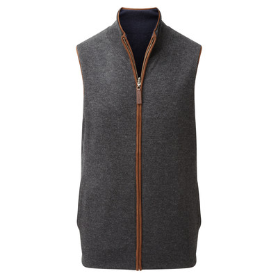 Reversible Merino/Cashmere Gilet Navy/Charcoal