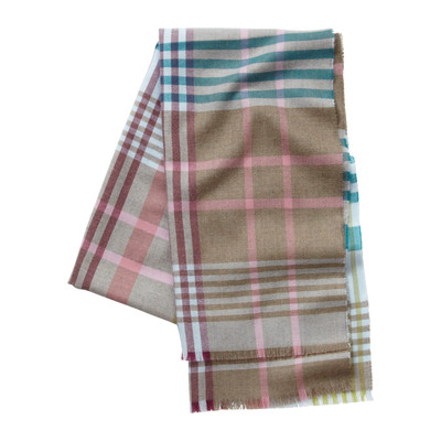 Ladies Merino Check Scarf Pale Blue