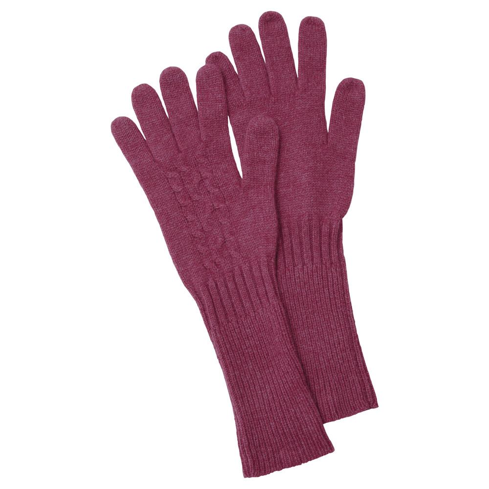 Cashmere Cable Glove Raspberry