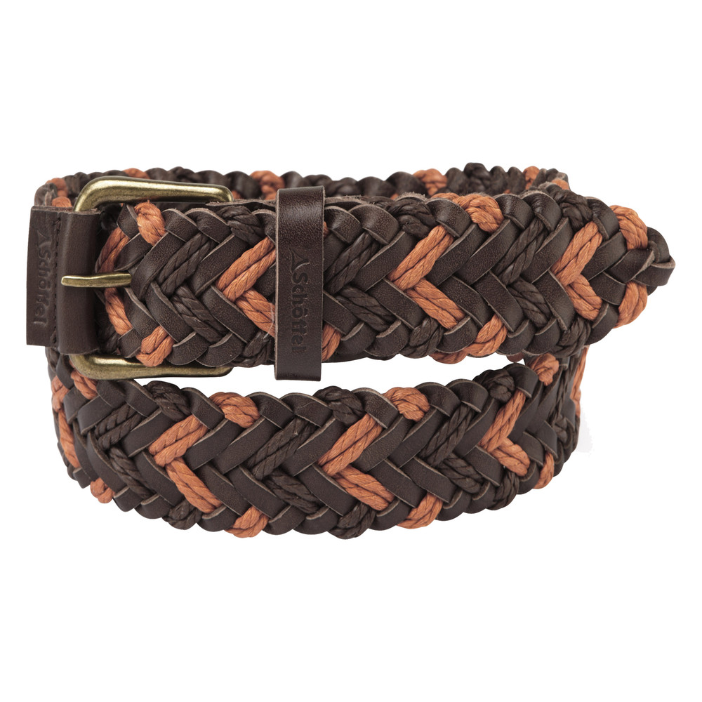 Woven Leather Belt Brown/Ochre