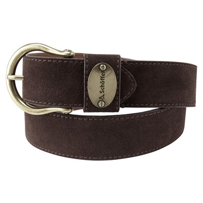 Ladies Suede Belt Dark Brown
