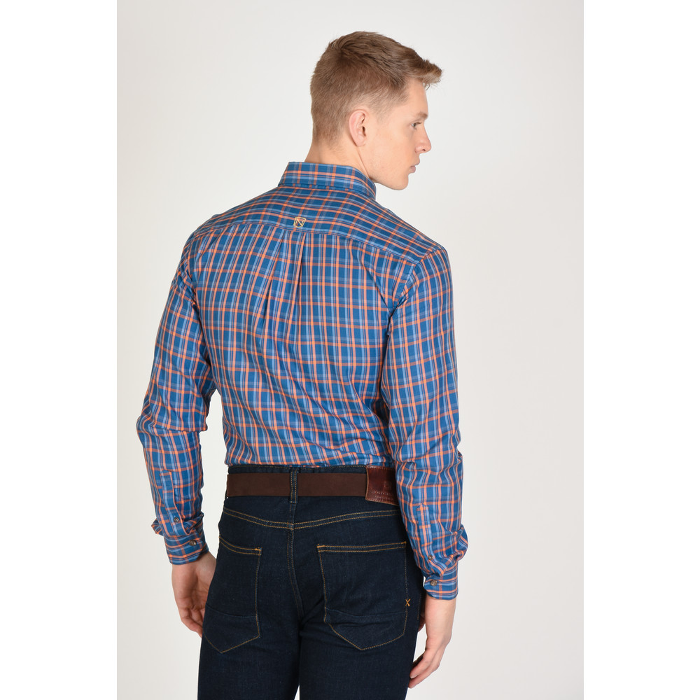 Traditions L/S Shirt Bold Orange & Blue Plaid
