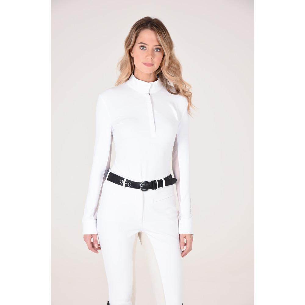 Victoria L/S Pull On Show Shirt White/Coral Geo Print