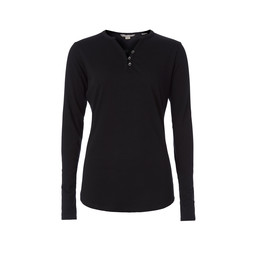 Royal Robbins Merinolux Henley Long Sleeve Top in Jet Black