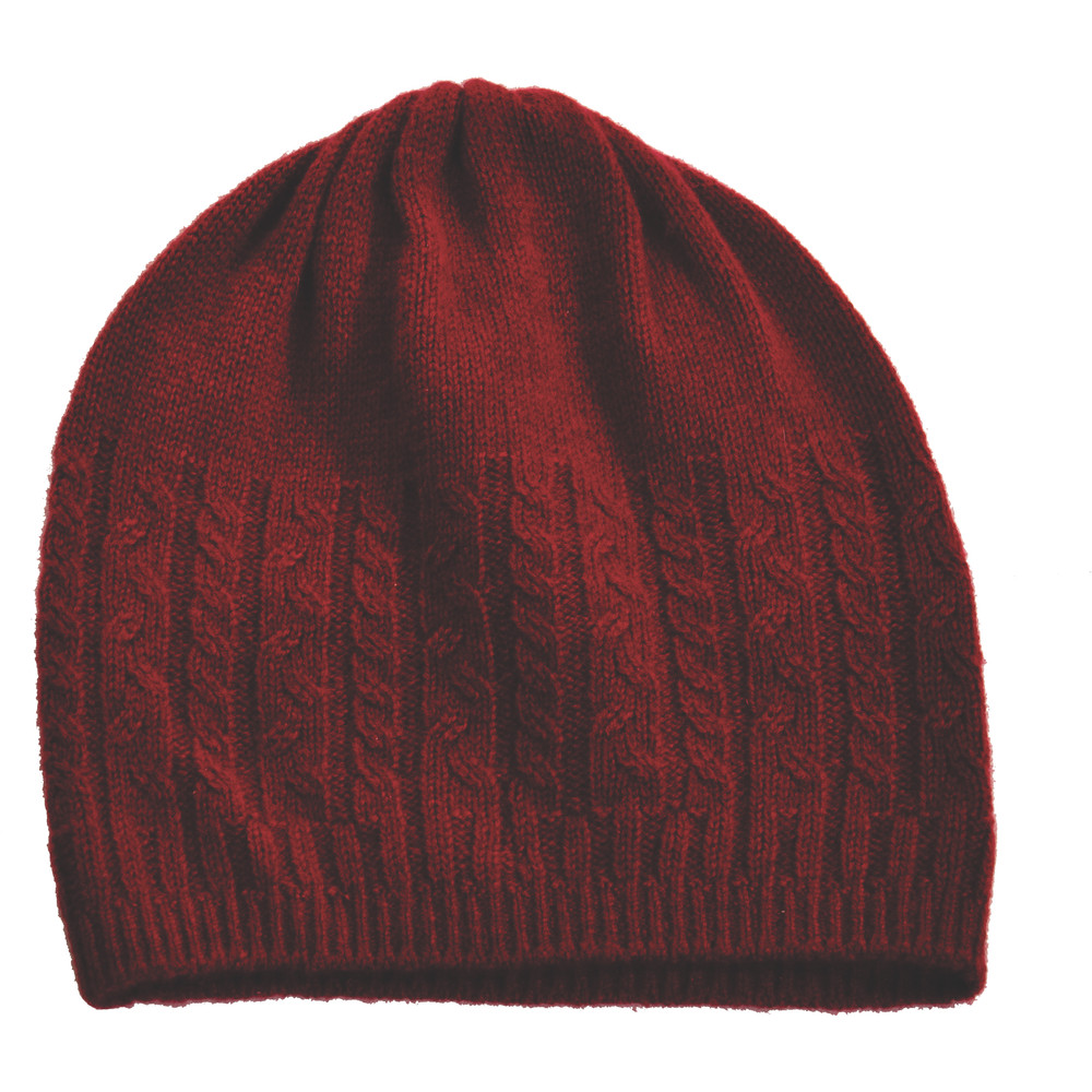 Cashmere Cable Hat Ruby