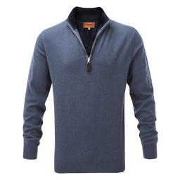 Schoffel Country Merino 1/4 Zip Jumper in Stone Blue