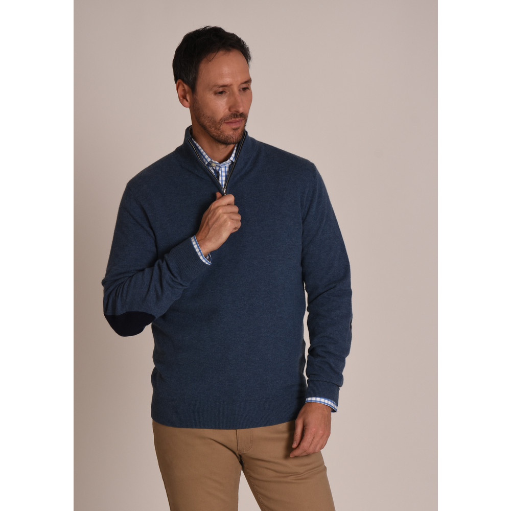 Merino 1/4 Zip Jumper Stone Blue