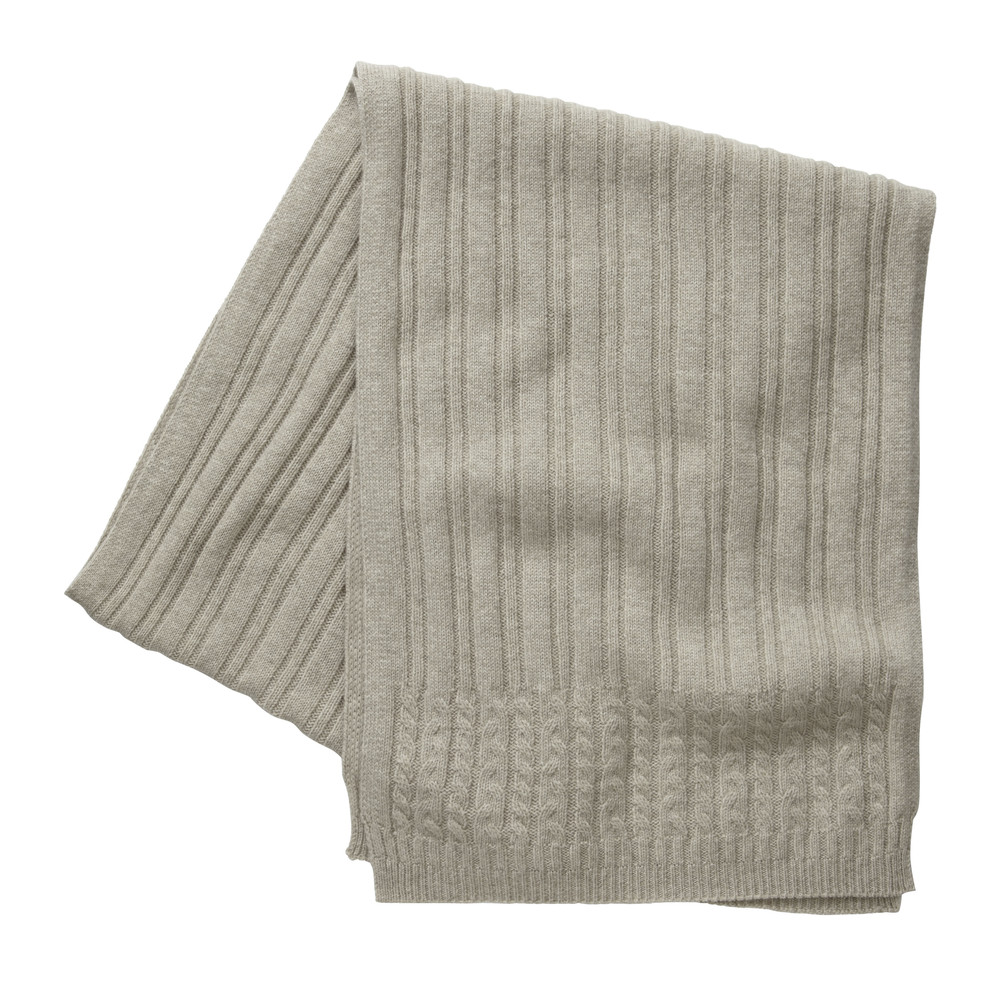 Cashmere Cable Scarf Barley