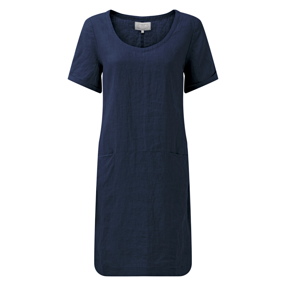 Athena Linen Dress Navy