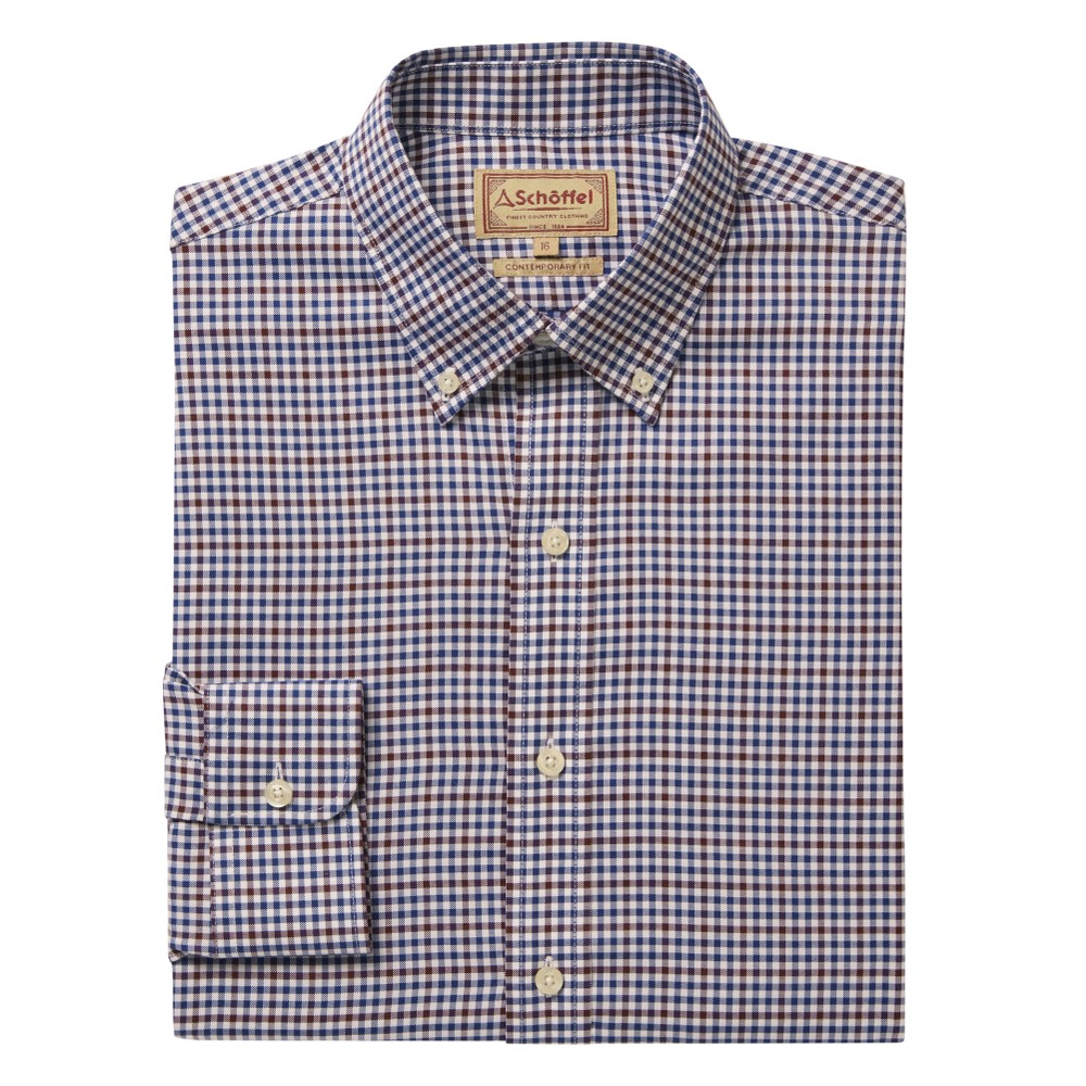 Burnsall Shirt Navy/Fig Micro